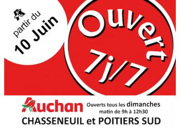 Vos supermarchés Auchan vous accueillent le dimanche matin