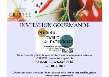 Invitation gourmande pour une démonstration culinaire - Cuisine Table & Patisserie